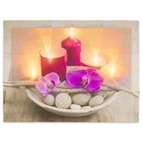 Wandbild mit LED Kunstdruck mit Beleuchtung Orchidee 30x40 cm Timer Batterie