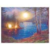 Wandbild mit LED Kunstdruck mit Beleuchtung Lagerfeuer 30x40 cm Timer Batterie