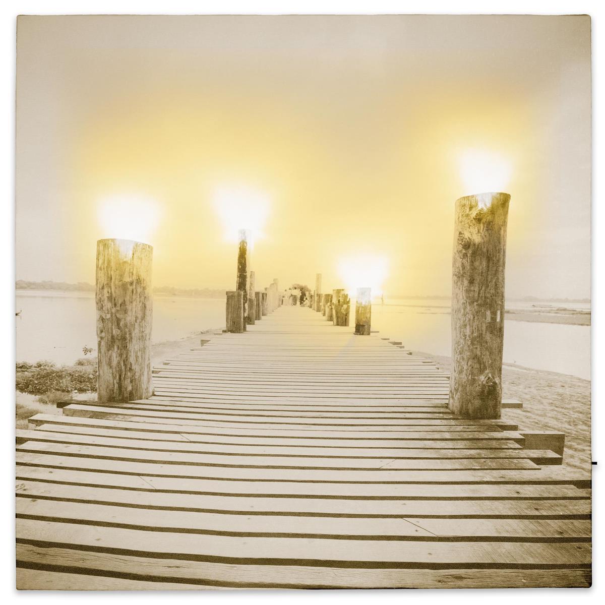 Wandbild mit LED Kunstdruck Beleuchtung Nebel am Pier 40x40 cm Timer Batterie