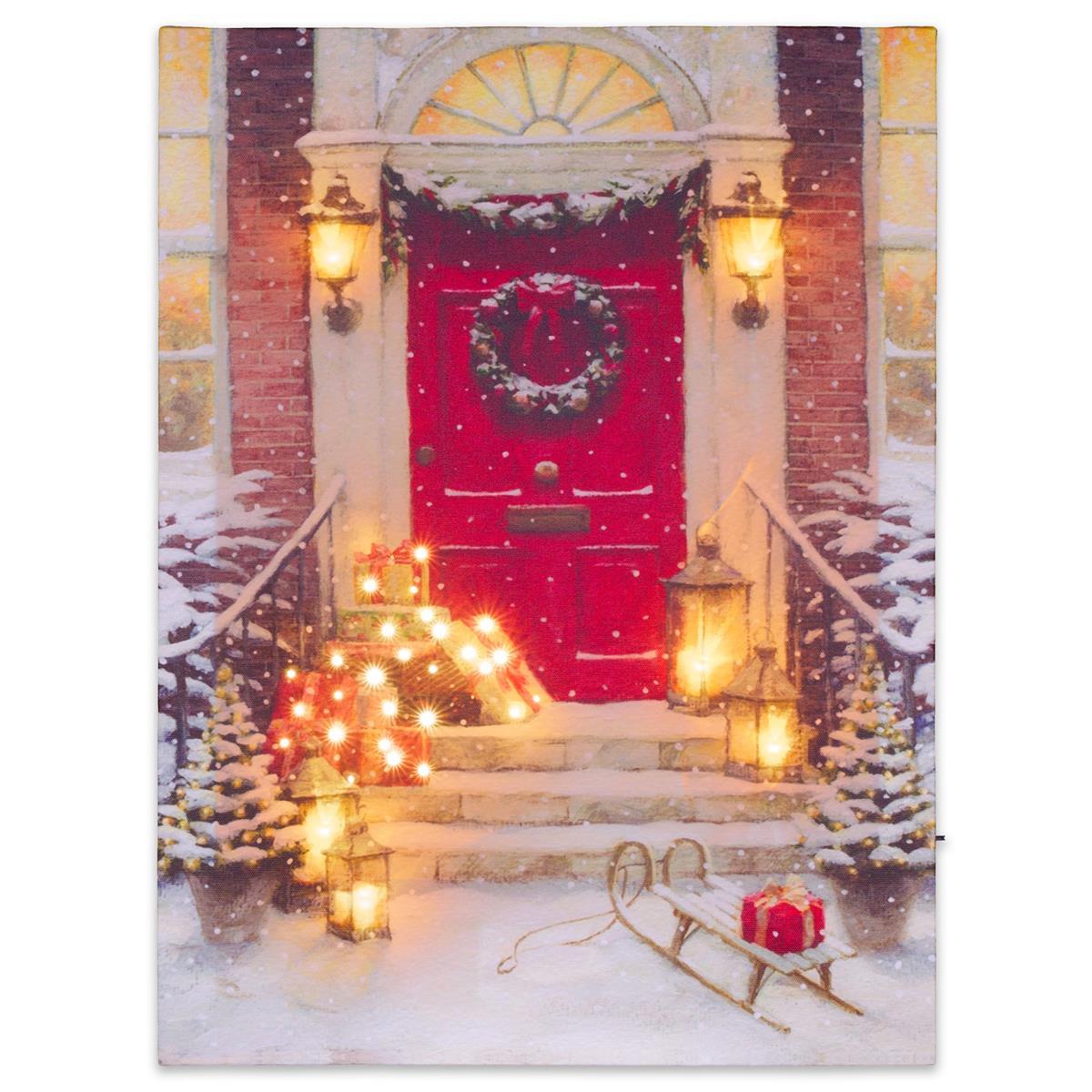 Wandbild mit LED Kunstdruck mit Beleuchtung Weihnachstag 30x40 cm Timer Batterie