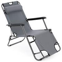 klappbare Sonnenliege Relaxliege Liegestuhl grau Klappliege Stahl