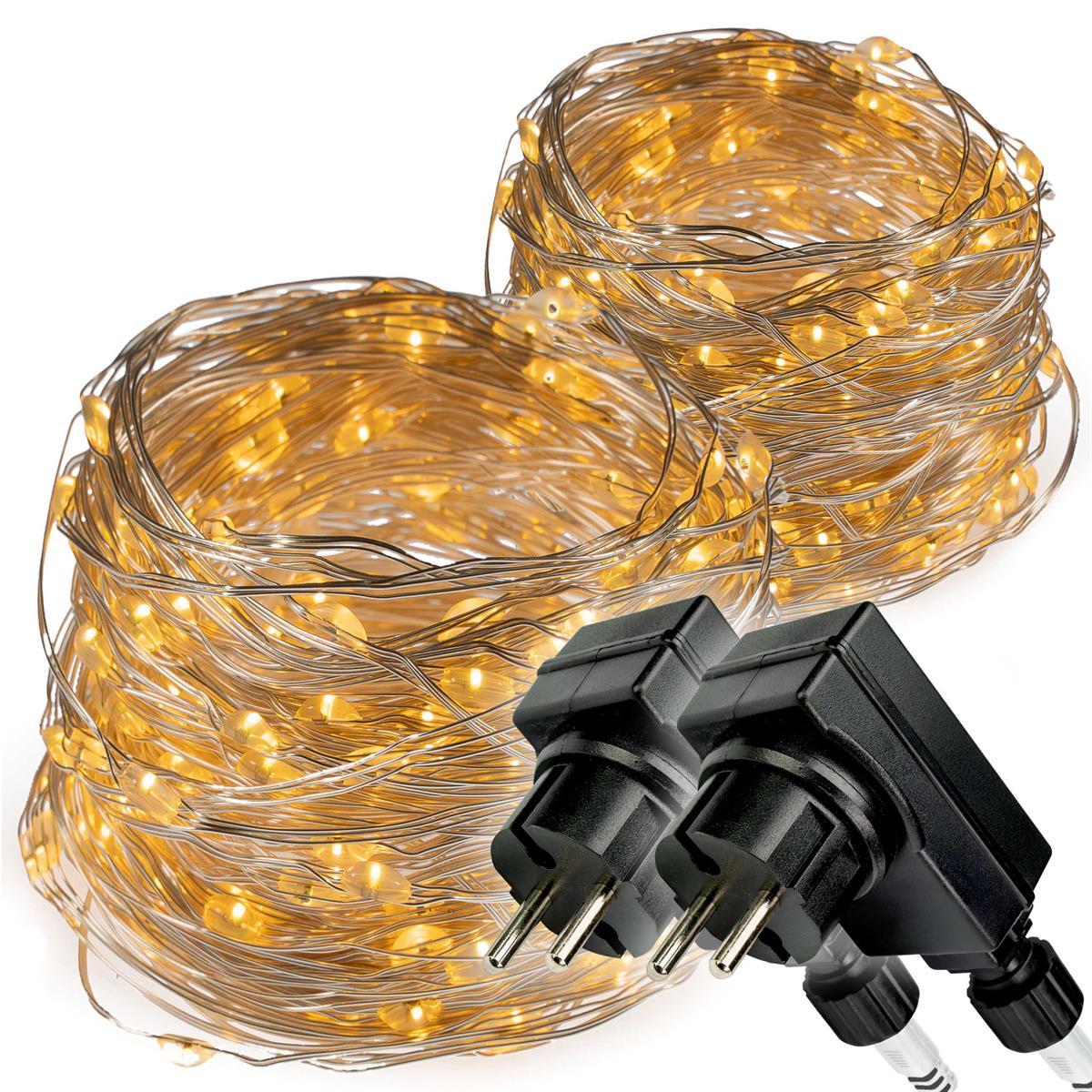 2er Set 200 LED Lichterkette Silberdraht warmweiß Weihnachtsdeko Trafo Timer