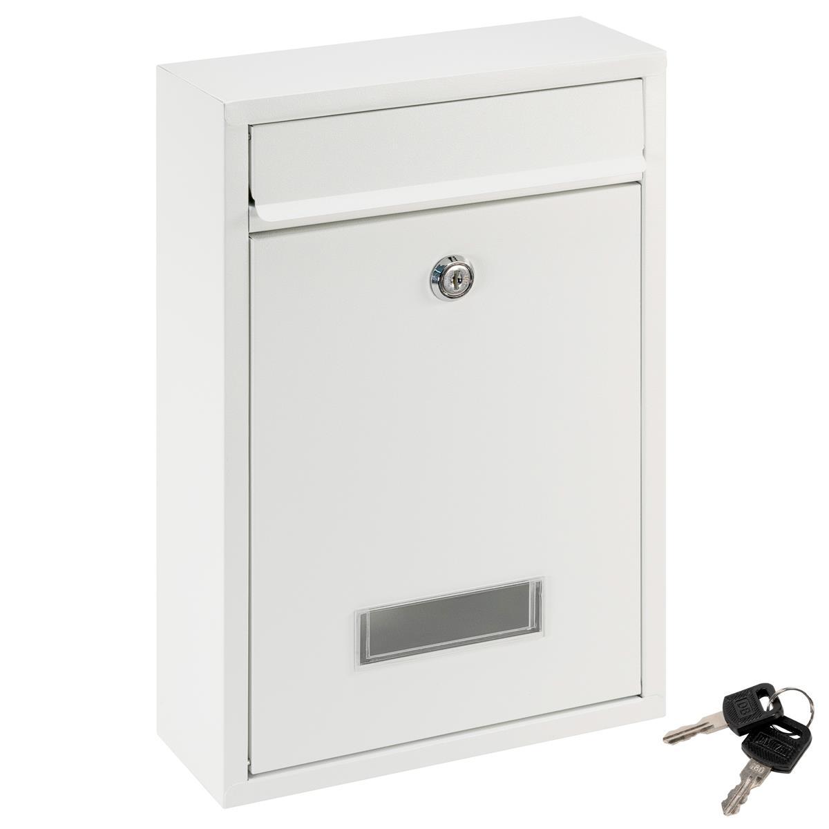 Briefkasten ELI Wandmontage Weiß 2 Schlüssel Stahl mit Namensschild