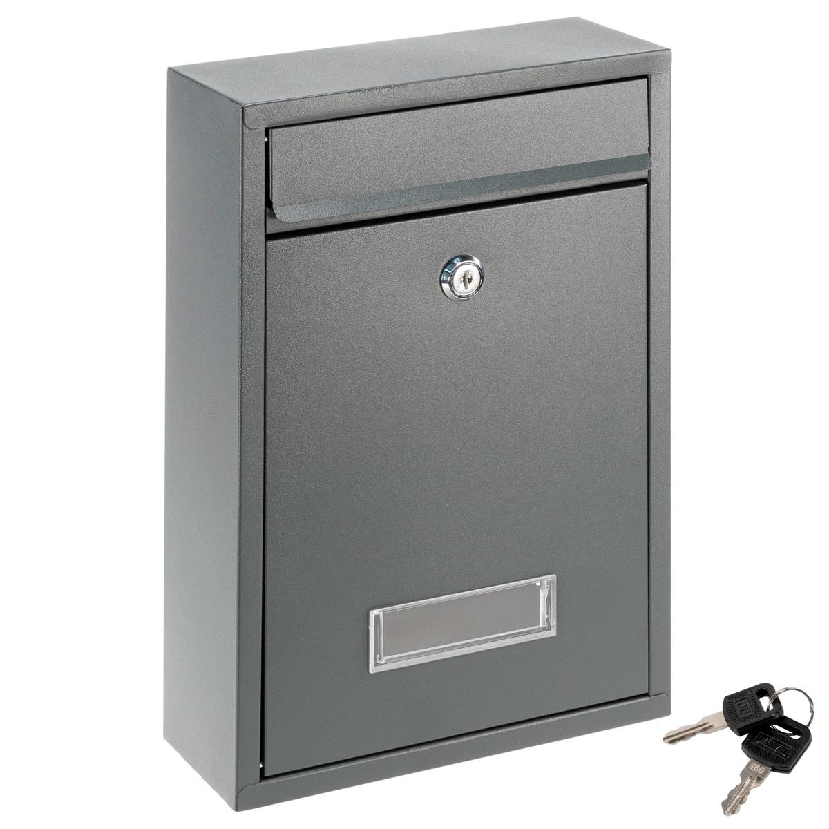 Briefkasten ELI Wandmontage Anthrazit 2 Schlüssel Stahl mit Namensschild