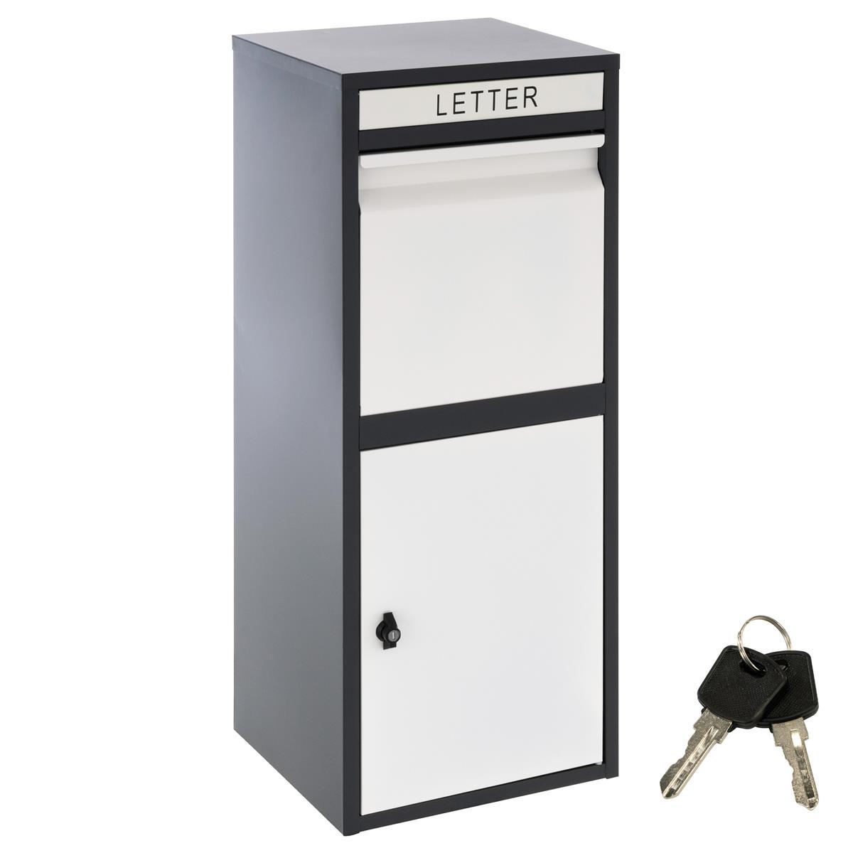 Paketbriefkasten KIM schwarz weiß Stahl Standbriefkasten Pakete Postbox