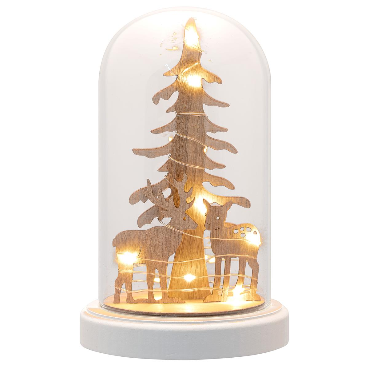 Deko-Glocke mit Lichterkette Holzdeko Kuppel 10 LED warm weiß Batterie Timer