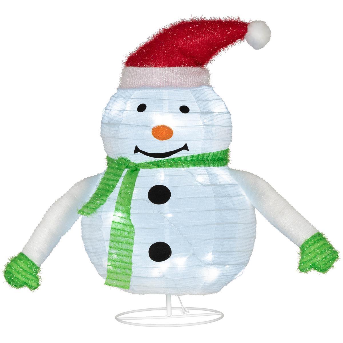 Schneemann 30 LED weiß 58 cm Batterie Timer Weihnachten Deko-Figur faltbar