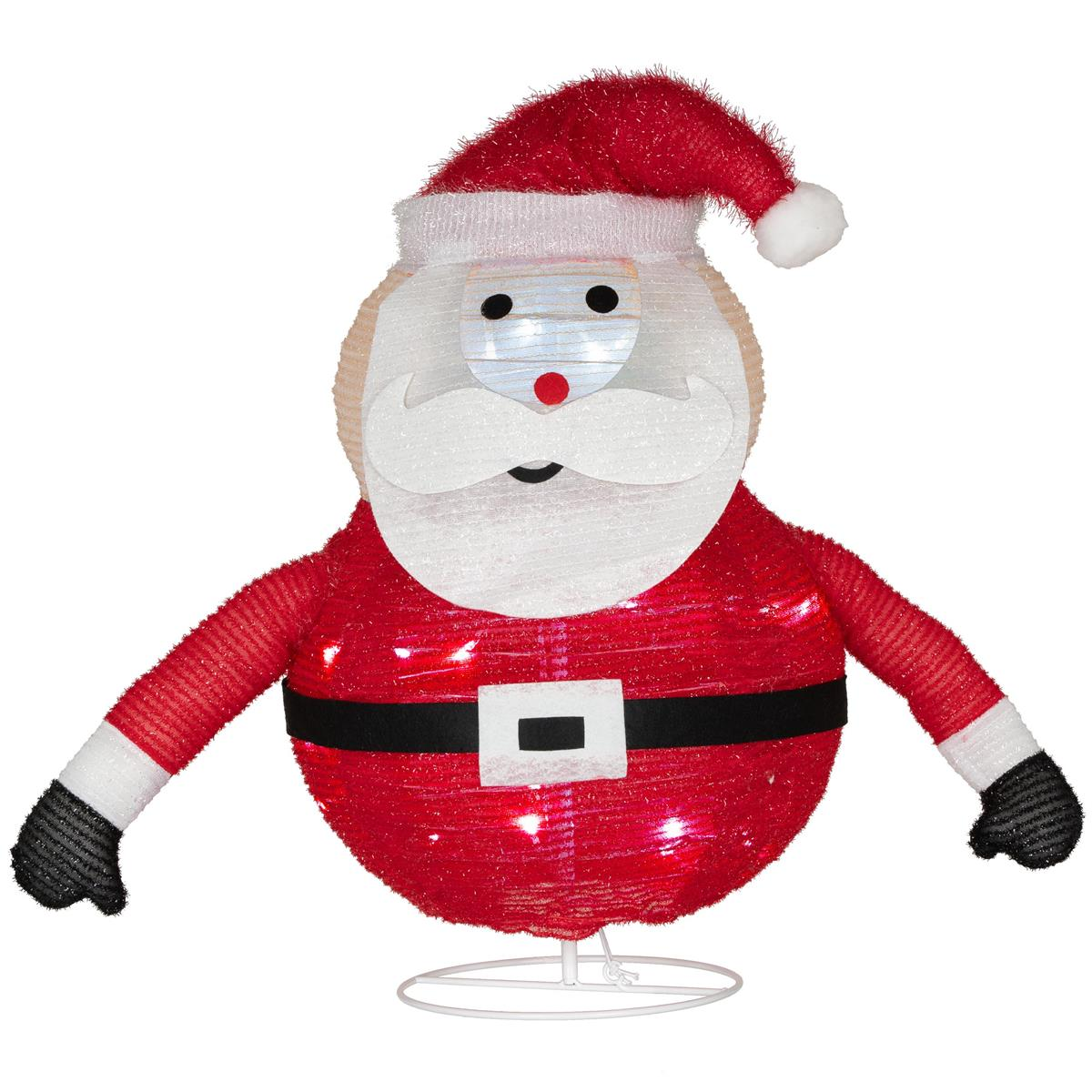 Weihnachtsmann faltbar 30 LED weiß 58 cm Batterie Timer Weihnachten