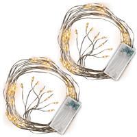 2er Set Lichterregen 48 LED warm weiß silberne Drähte mit je 6 LED Timer