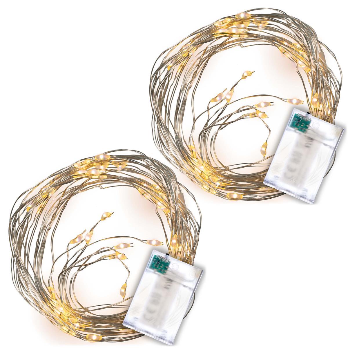 2er Set Lichterregen 64 LED warm weiß silberne Drähte mit je 8 LED Timer