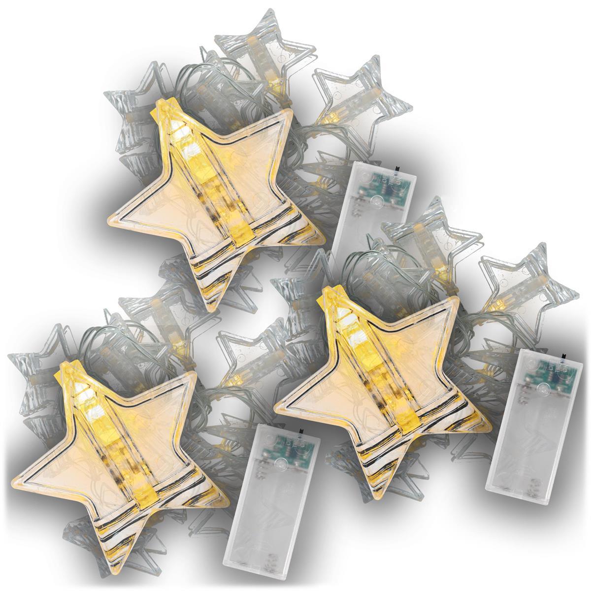 3er Set Lichterkette Clip Sterne 10 LED warm weiß Batterie Timer Xmas