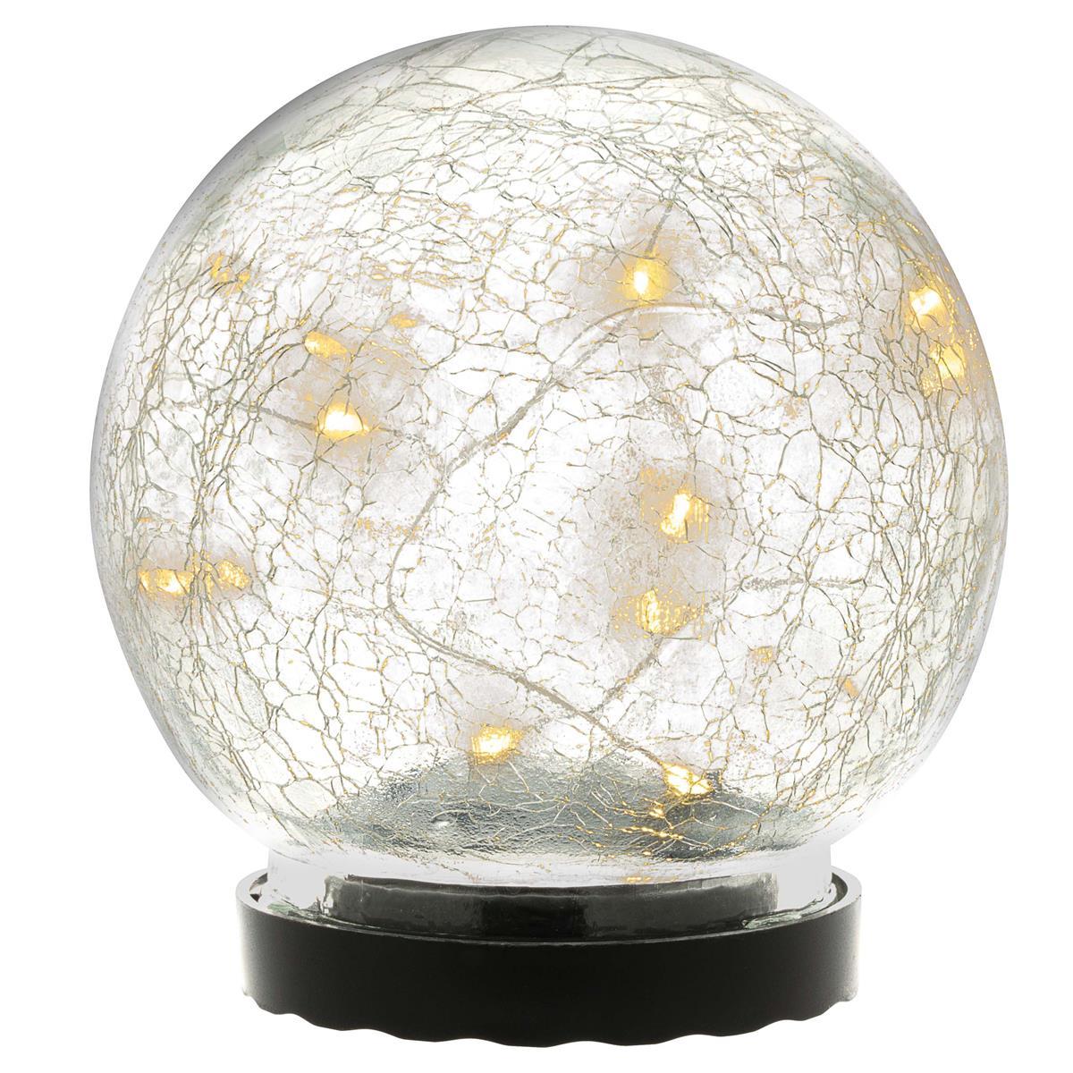 Solarleuchte mit Glaskugel 10 LED warm weiß Solarlampe 11 cm
