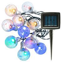 Solar Lichterkette 10 LED Knisterkugeln 3,45 Meter Warmweiß + Multicolor