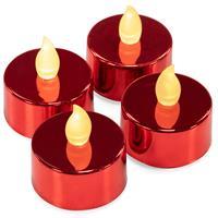 4er Set LED Teelicht rot batteriebetrieben Teelichtkerzen flammenlos Xmas
