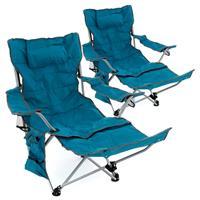 2er Set Campingliege Campingstuhl gepolstert abnehmbare Fußlehne blau