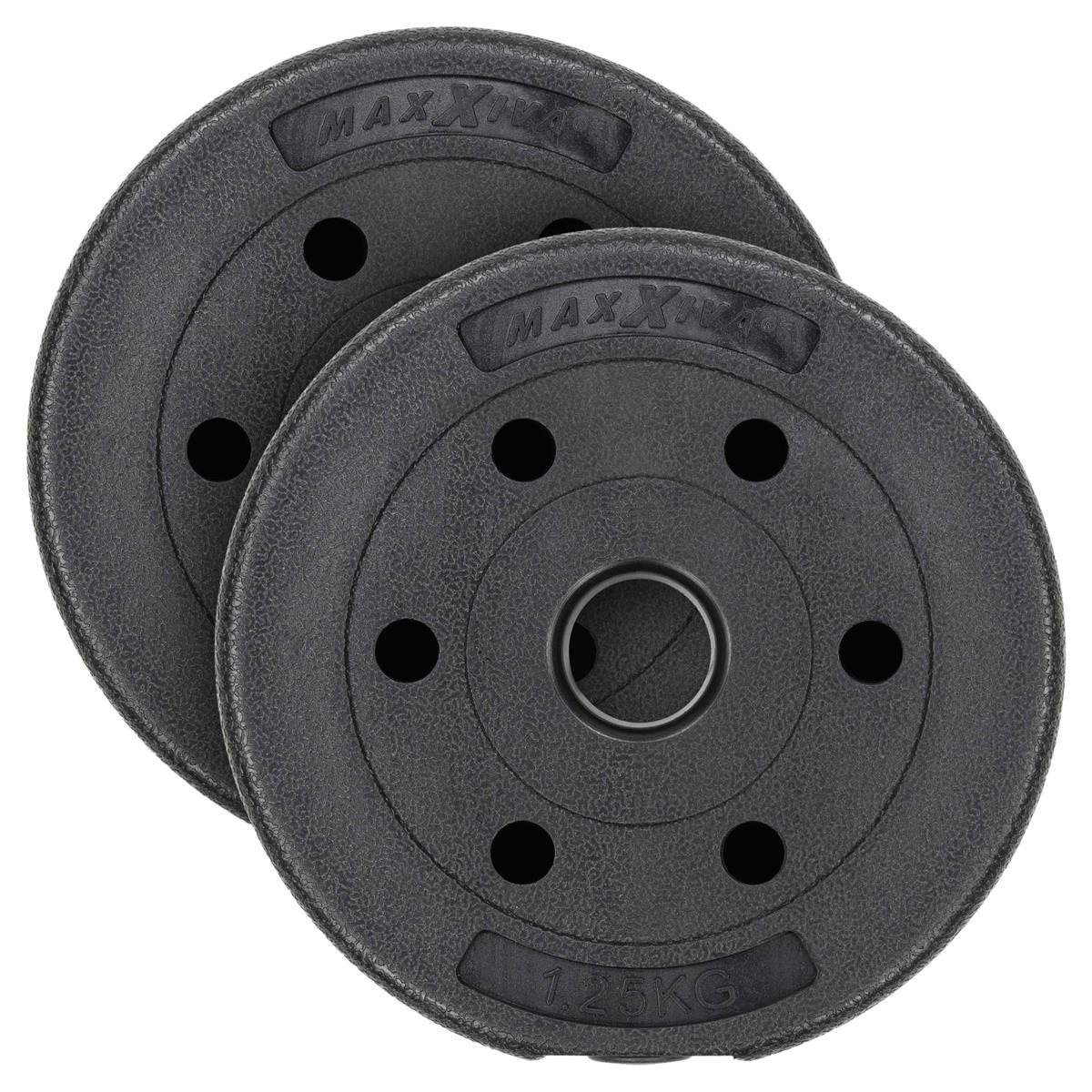 MAXXIVA Hantelscheiben Set Zement 2x1,25kg Gewichte schwarz Gewichtsscheiben