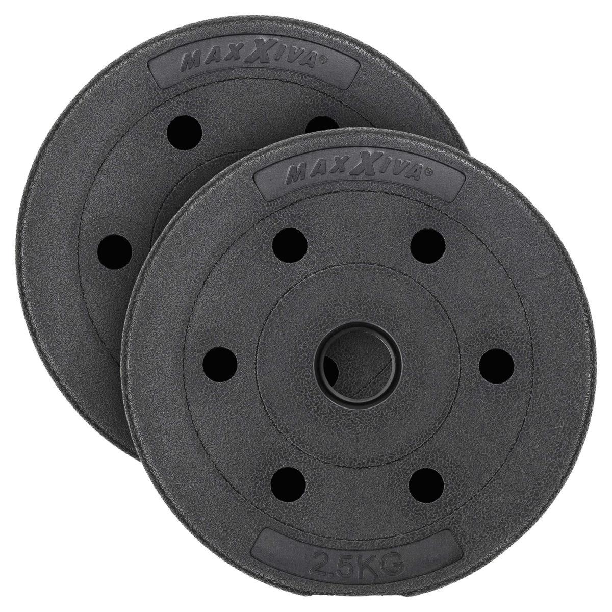 MAXXIVA Hantelscheiben Set Zement 2x2,5kg Gewichte schwarz Gewichtsscheiben