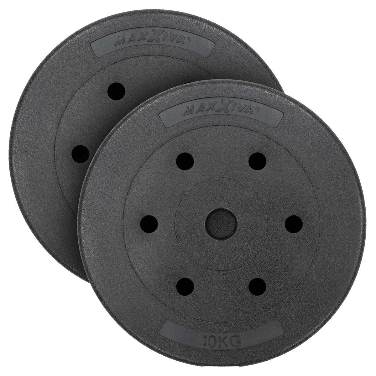 MAXXIVA Hantelscheiben Set Zement 2x10kg Gewichte Schwarz Gewichtsscheiben