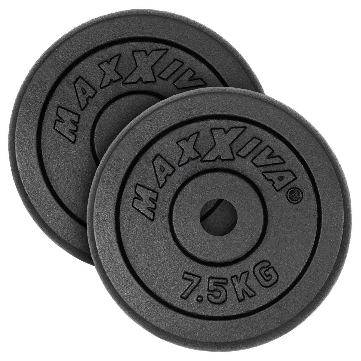 MAXXIVA Hantelscheiben 2er Set Gewichtsplatte je 7,5 kg Gusseisen schwarz 15 kg