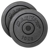 MAXXIVA Hantelscheiben 2er Set Gewichtsplatte je 10 kg Gusseisen schwarz 20 kg