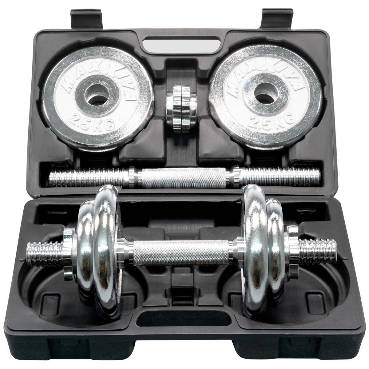 MAXXIVA Kurzhantel-Set Chrome 2x10kg 8 Gewichte Sternverschlüsse Hanteln