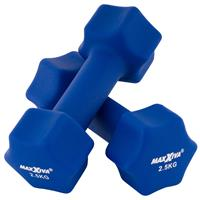 MAXXIVA Hantelset blau Neopren 2 x 2,5 kg Kurzhanteln Krafttraining Fitness