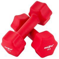 MAXXIVA Hantelset rot Neopren 2 x 3 kg Kurzhanteln Krafttraining Fitness