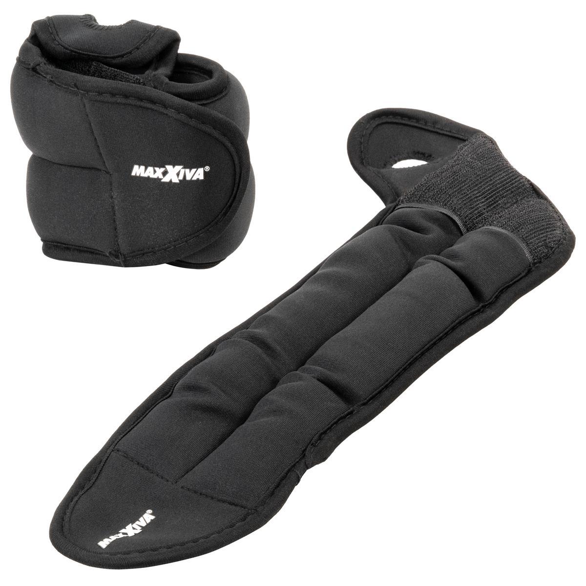 MAXXIVA Handmanschetten Set Schwarz 2 x 1 kg Eisensand Laufgewichte
