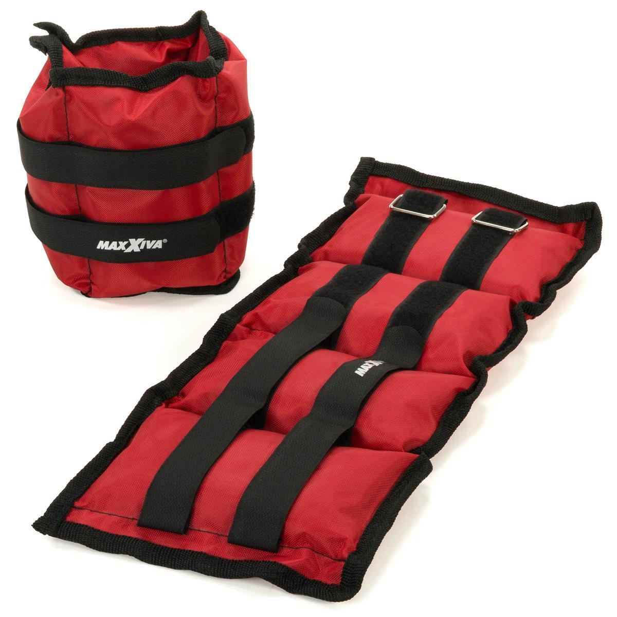 MAXXIVA Gewichtsmanschetten Set 2 x 2 kg Laufgewichte Rot Arm Bein