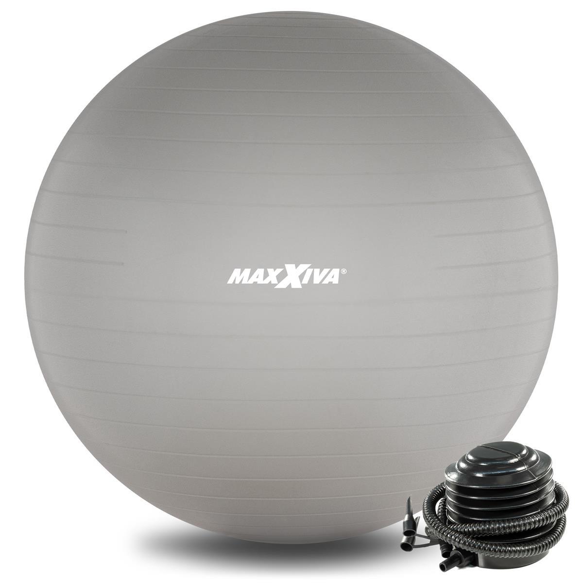 MAXXIVA Gymnastikball Ø 65 cm Silber mit Pumpe Sitzball Fitness Yoga Pilates