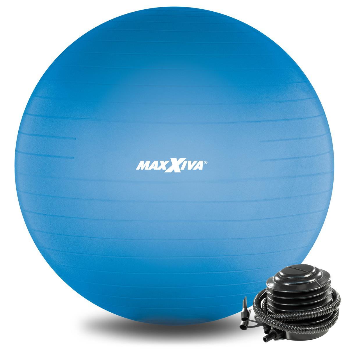 MAXXIVA Gymnastikball Ø 65 cm Blau mit Pumpe Sitzball Fitness Yoga Pilates