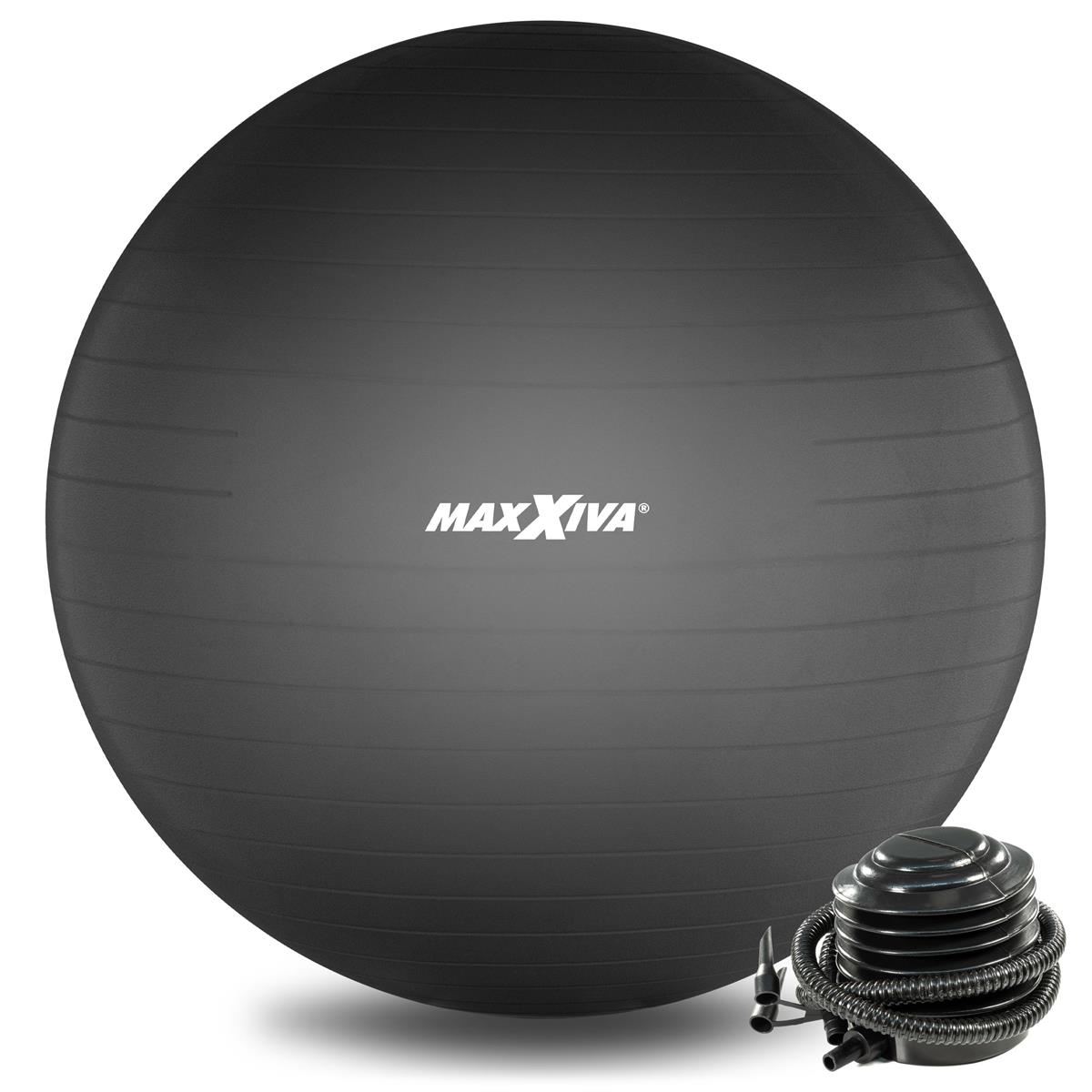 MAXXIVA Gymnastikball Ø 75 cm Schwarz mit Pumpe Sitzball Fitness Yoga Pilates