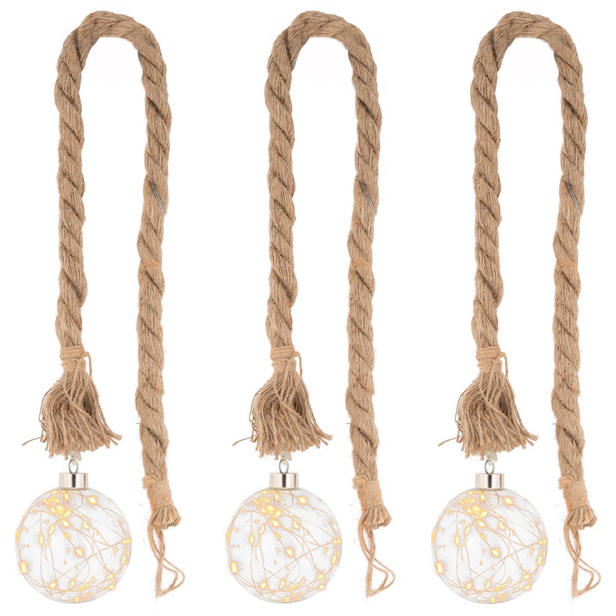 3er Set LED Dekoleuchte Kugel am Seil 20 LED warm weiß Batterie Timer Xmas