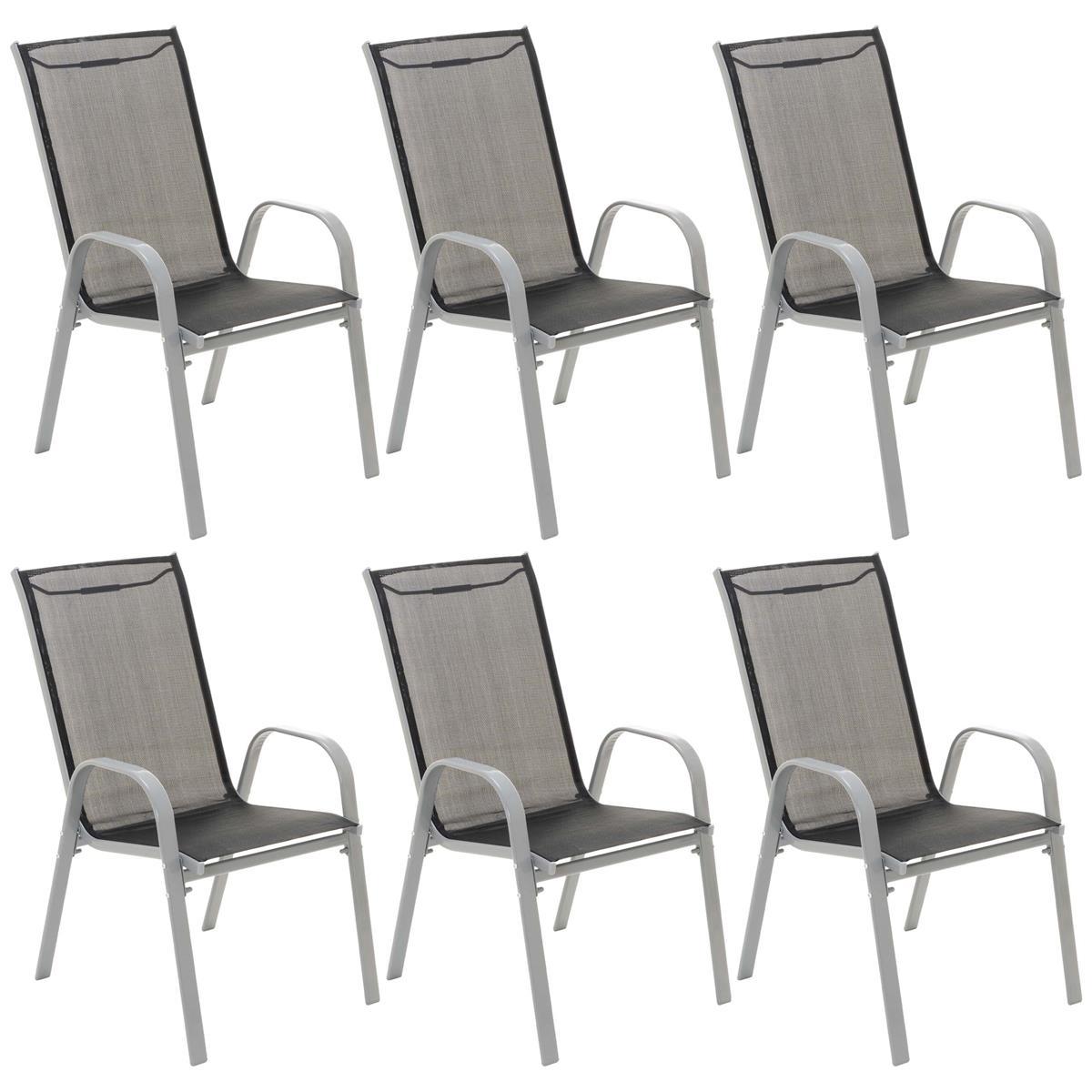 6er Set Gartenstuhl Stapelstuhl Stapelsessel Campingsessel schwarz Rahmen grau