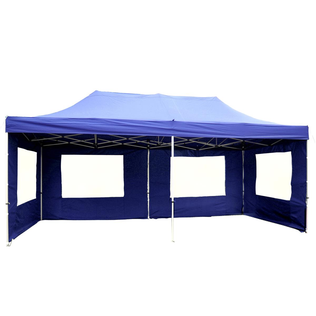 PROFI Faltpavillon B-WARE Partyzelt 3x6 m blau Seitenteile Dach wasserdicht