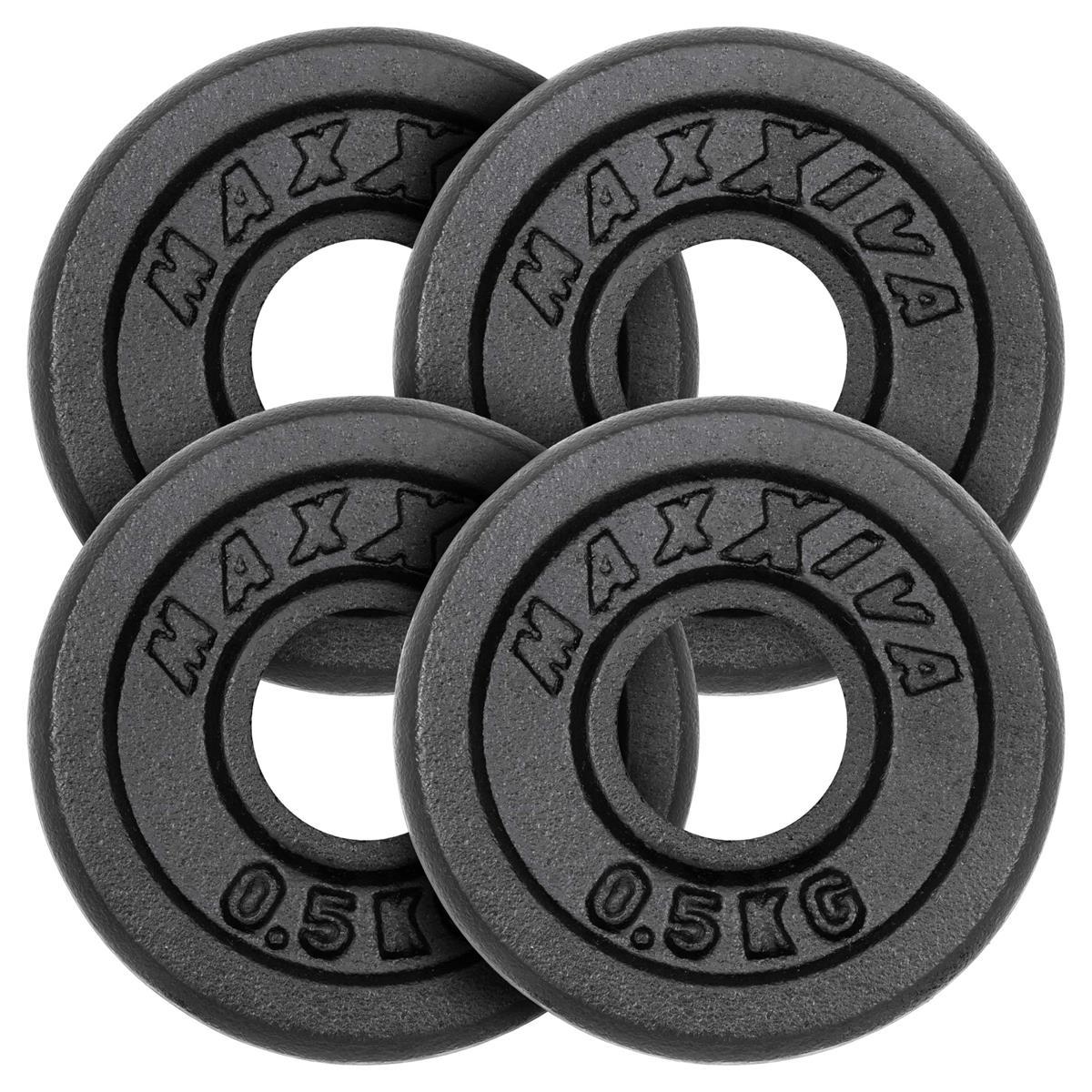 MAXXIVA Hantelscheiben 4er Set Gewichtsplatte je 0,5 kg Gusseisen schwarz 2 kg