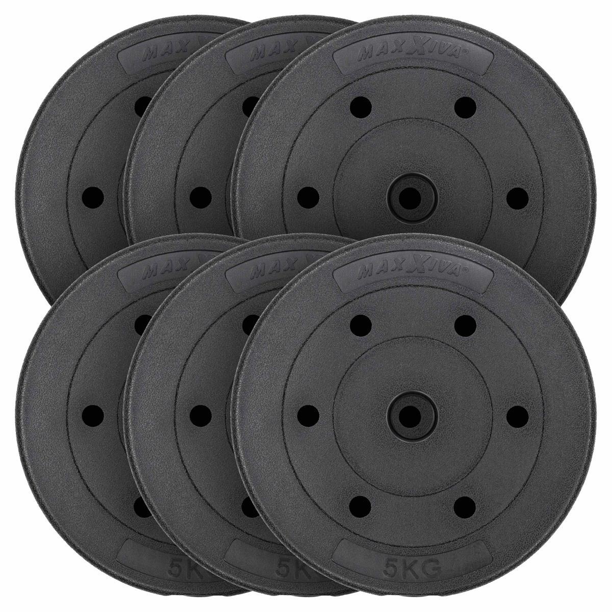 MAXXIVA Hantelscheiben Set Zement 6x5kg schwarz Gewichtsscheiben 30 kg