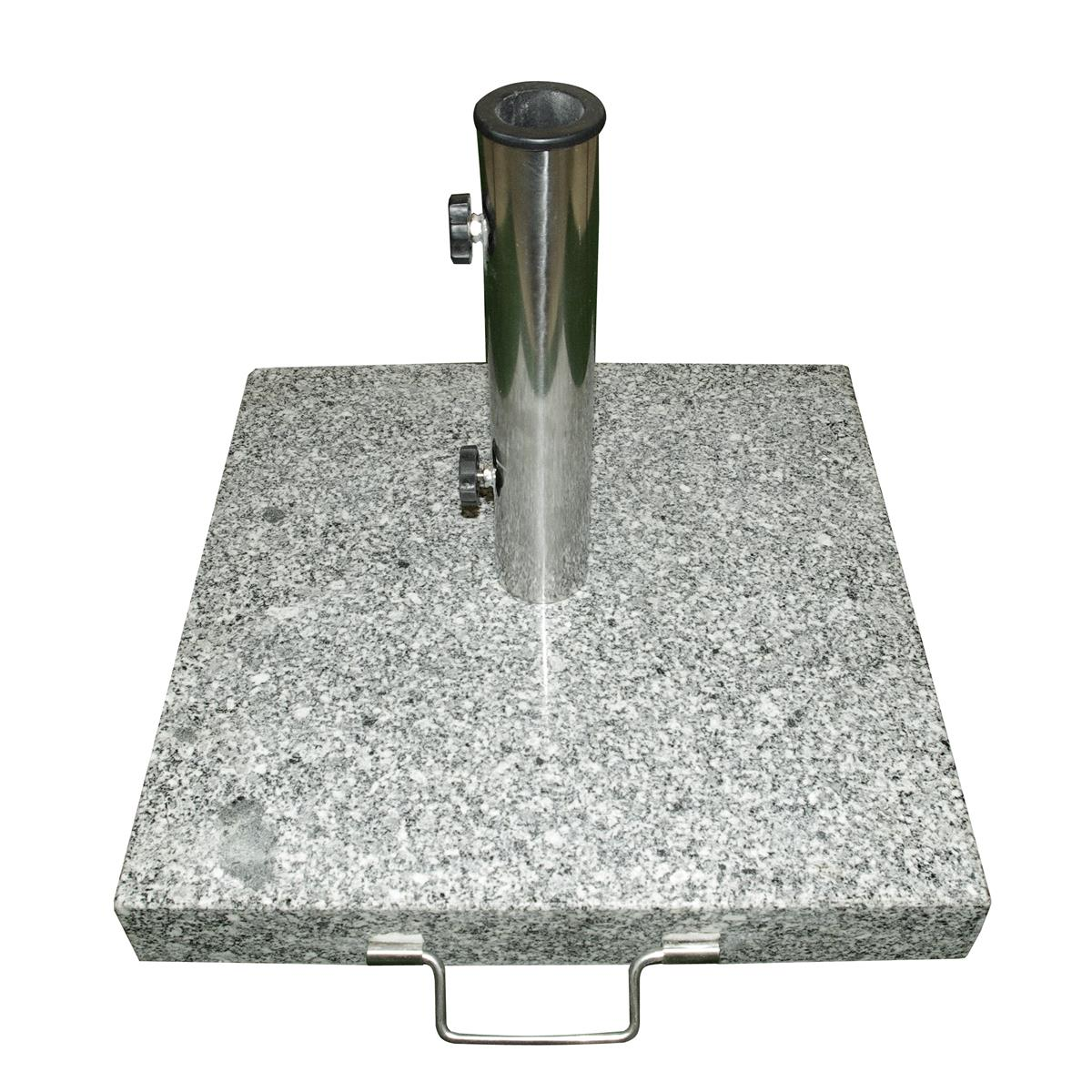 Sonnenschirmständer 25 kg Granit eckig grau 40 x40cm Edelstahlgriff Rollen