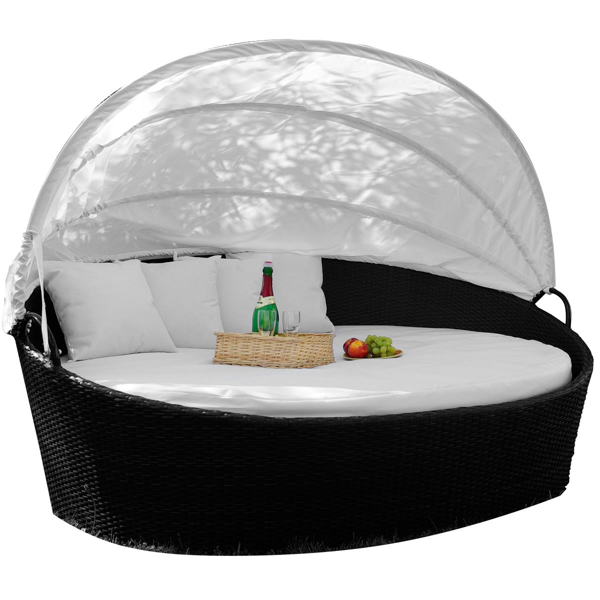 Exklusive Sonneninsel Poly Rattan Lounge Rattanbett Sonnenliege Relaxinsel weiß