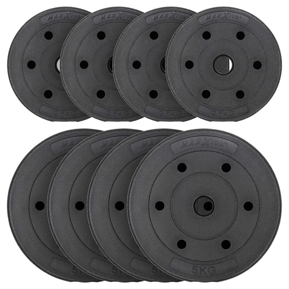MAXXIVA Hantelscheiben Set Zement 30 kg 8 Gewichte schwarz Gewichtsscheiben