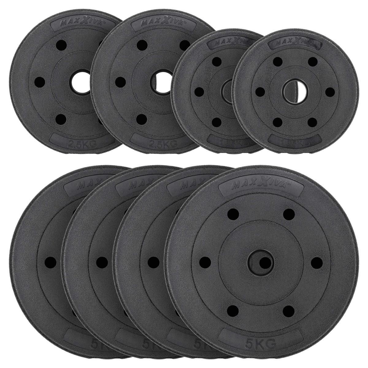 MAXXIVA Hantelscheiben Set Zement 27,5 kg 8 schwarz Gewichtsscheiben