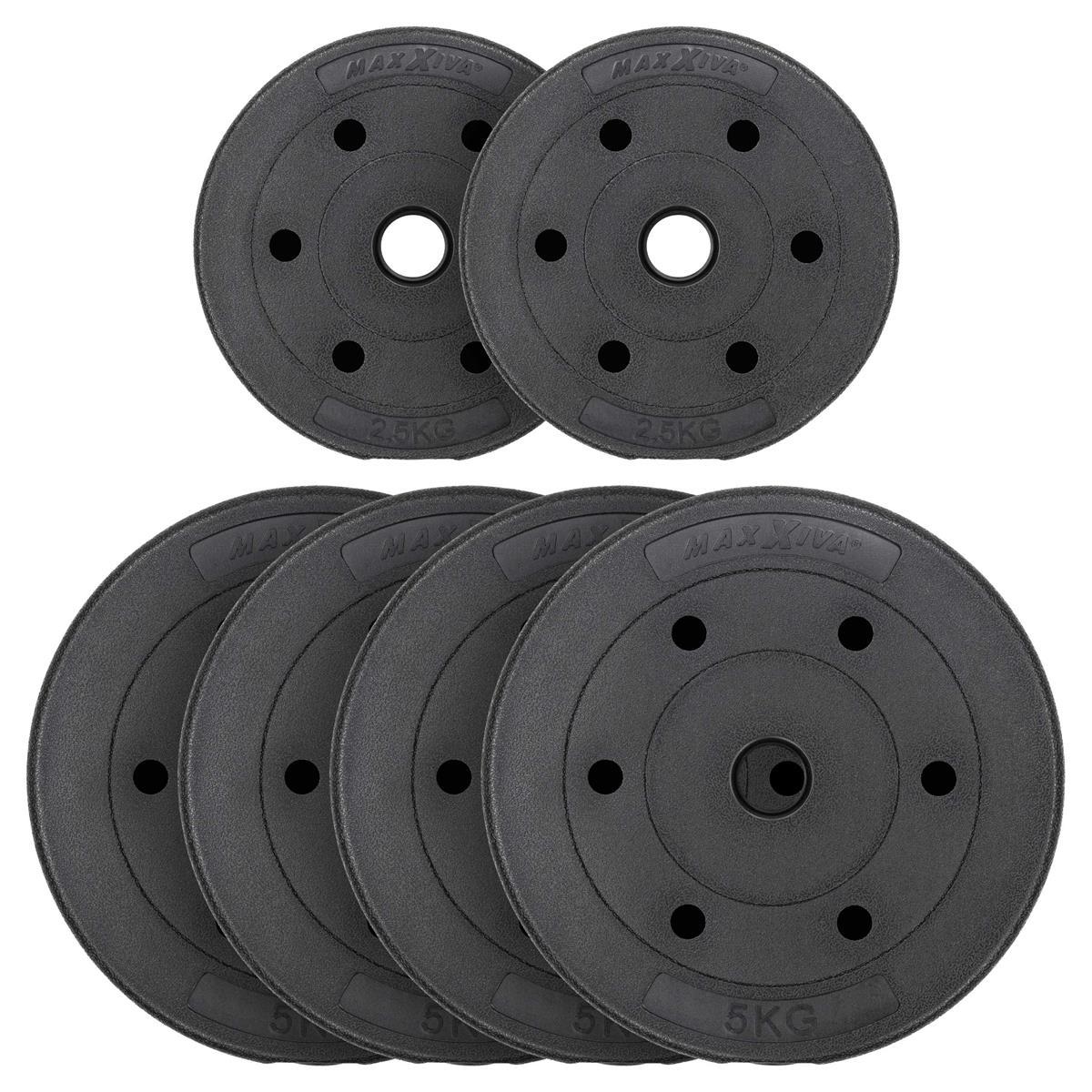 MAXXIVA Hantelscheiben Set Zement 25 kg 6 Gewichte schwarz Gewichtsscheiben