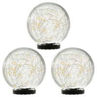3er Set Solarleuchte mit Glaskugel 25 LED warm weiß Solarlampe 15 cm