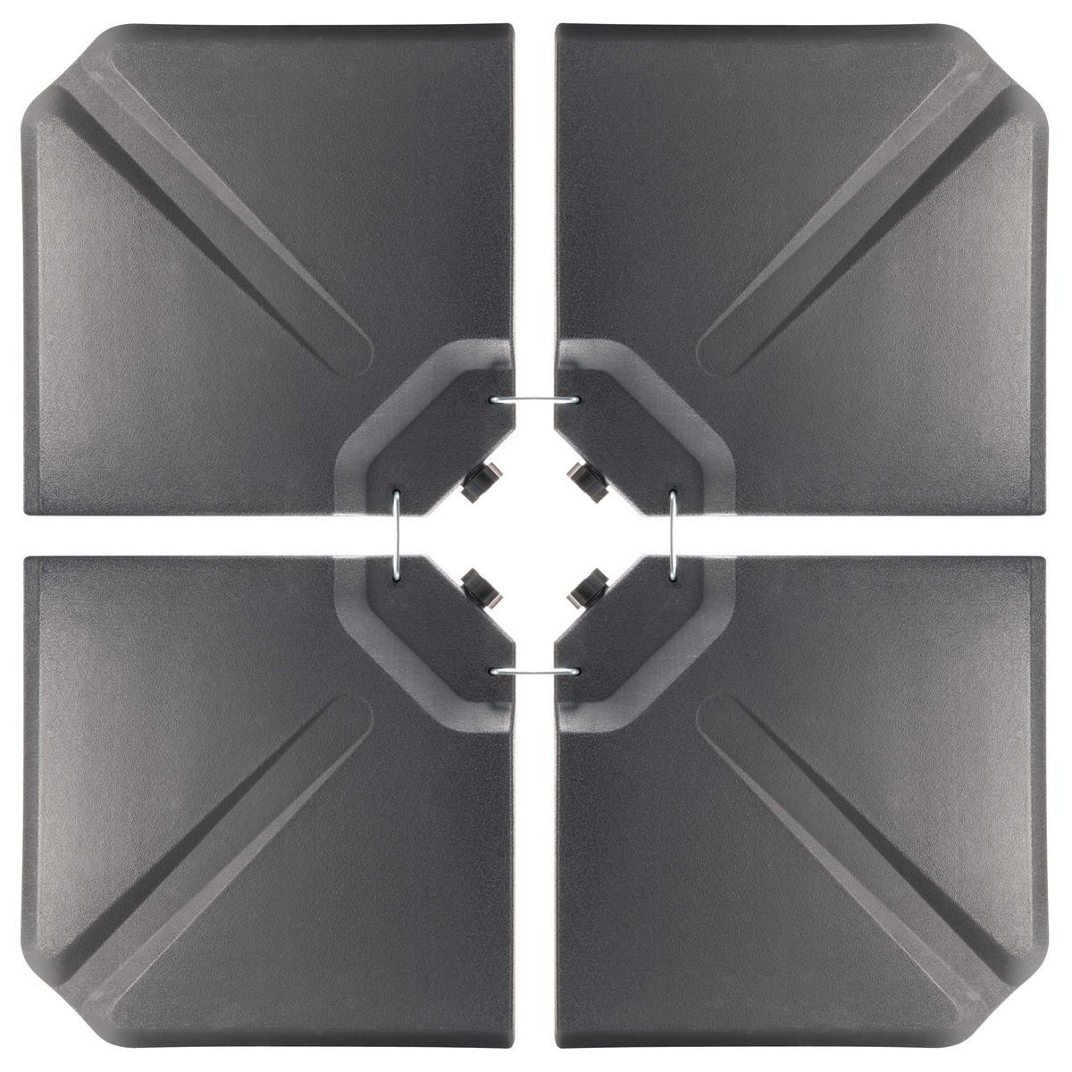 4x Einlegeplatten befüllbar Gewicht für Kreuzfuß-Schirmständer 60L Wasser / Sand