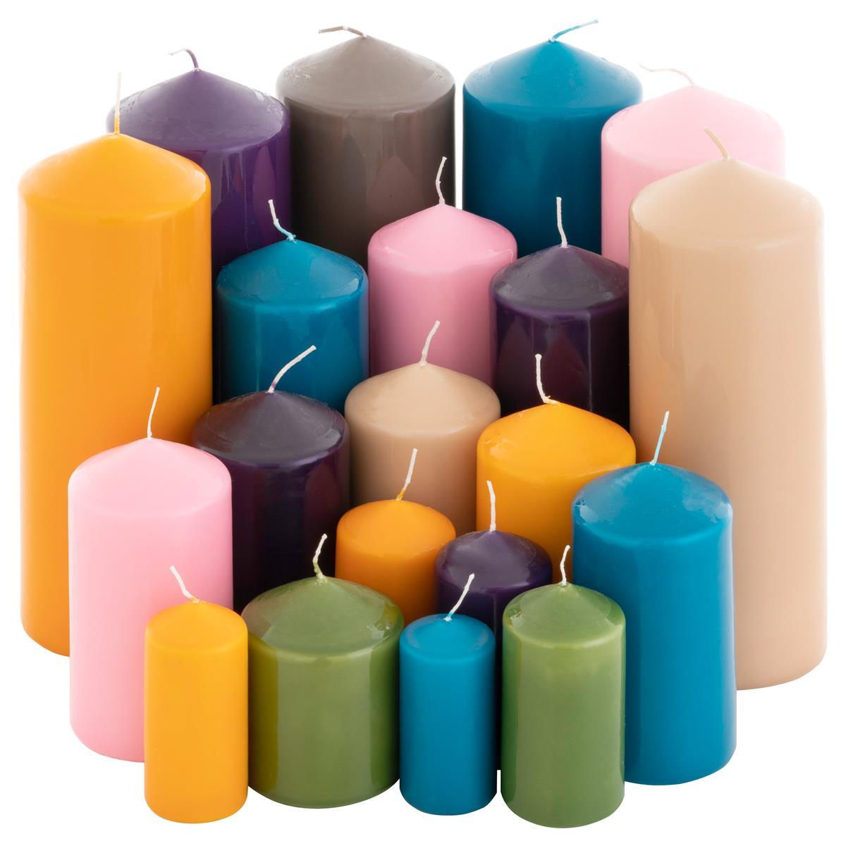 Stumpenkerzen 5kg Set 14 Stück getaucht Farbmix gemischt Posten