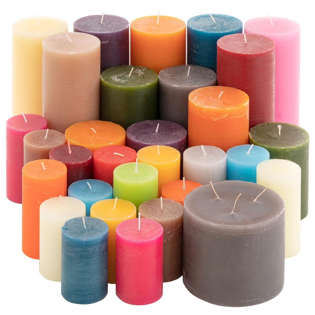 Rustic Stumpenkerzen 5kg Set 11 Stück durchgefärbt Farbmix gemischt Posten