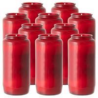 10er Set Grablicht rot 15x6 cm Glas Öl-Licht 100% Pflanzenöl Nr. 7 160h