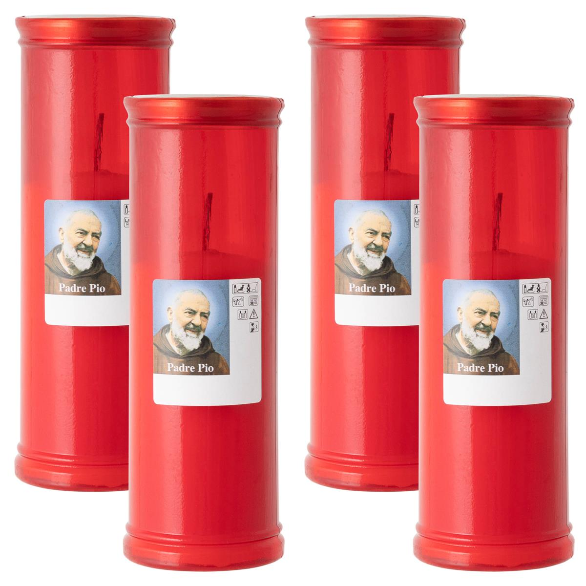 4er Set Grablicht Padre Pio rot 19x6,5 cm Friedhofskerzen 96h Trauerkerze