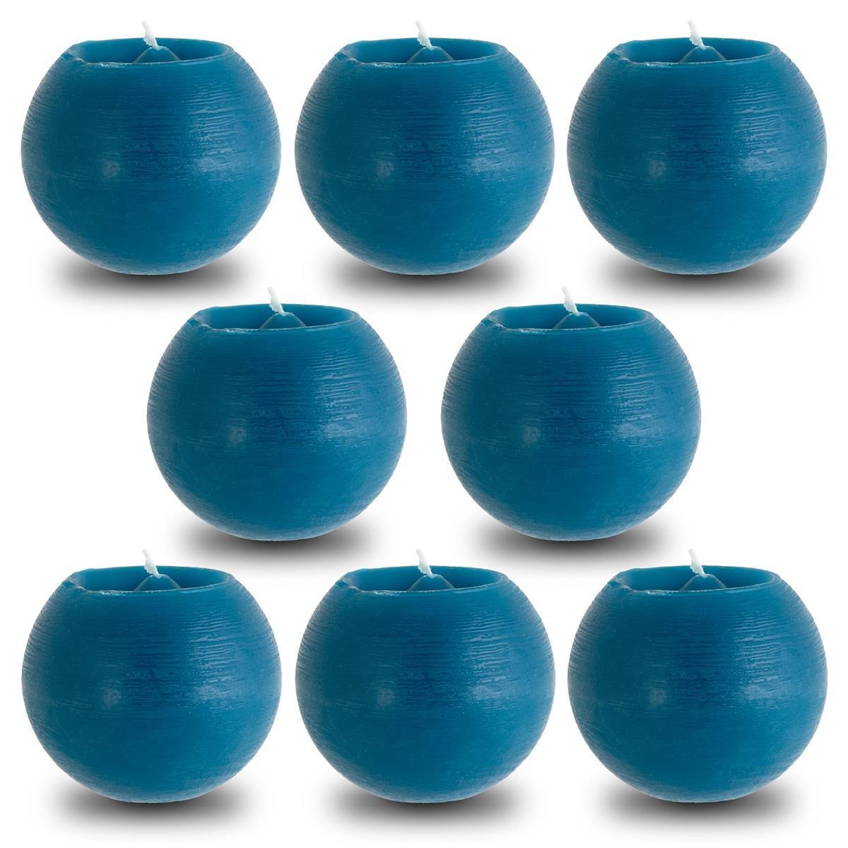 8er Set Rusti Kugelkerze Aqua Blau 100er Größe 8x10 cm Brenndauer ca. 30 Stunden