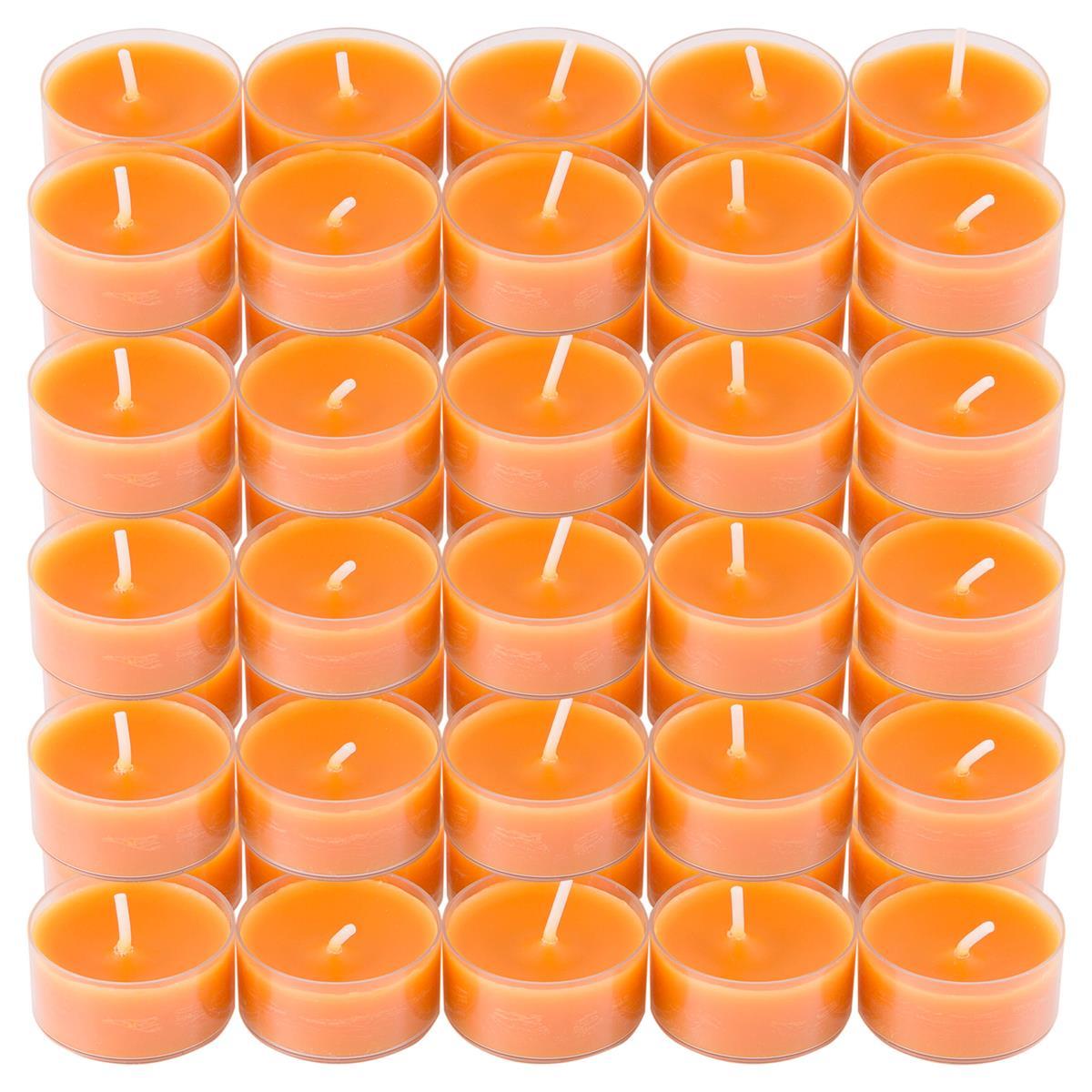 50er Set Teelichter PC Cup-Lichter safran 5x10 Stück Brenndauer ca. 4h 2x3,5 cm